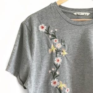 floral embroidered cropped t-shirt